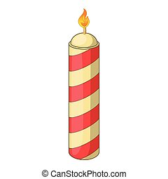 Color candle icon, cartoon style