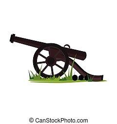 color, canon, ilustración, vector, pasto o césped, o
