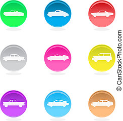 Color car icons isolated on white.