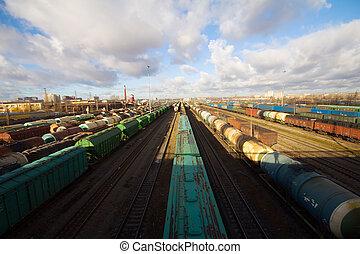 Color, carga, tren, contenedores, carga