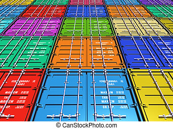 Color cargo containers - Creative abstract freight...