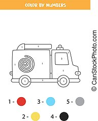 Color cartoon fire truck by numbers. Transportation worksheet.