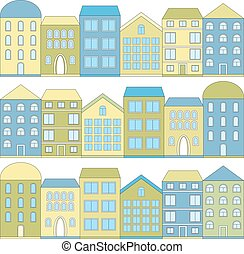 Color cartoon houses, vector illustration