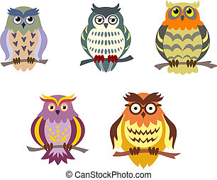 Color cartoon owls set in doodle style for funny design