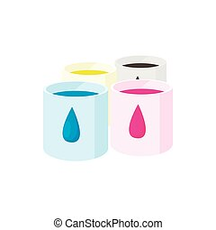 Color cartridges for printer icon, cartoon style