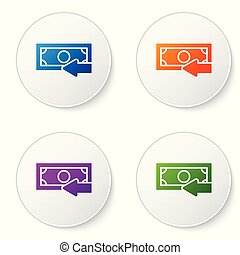 Color Cash back icon isolated on white background. Financial services, money refund, return on investment, savings account, currency exchange. Set color icon in circle buttons. Vector Illustration