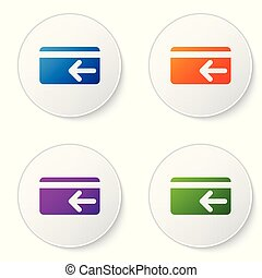 Color Cash back icon on white background. Credit card. Financial services, money refund, return on investment, savings account, currency exchange. Set color icon in circle buttons. Vector Illustration