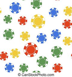 Color Casino chip icon isolated seamless pattern on white background. Vector