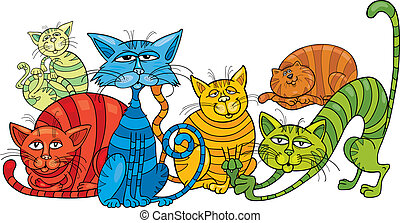 color cats group - Cartoon illustration of funny color cats