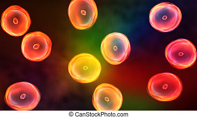 color cells orange - Abstract illustration of cells in...