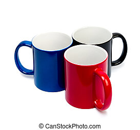 color ceramic cups on a white background