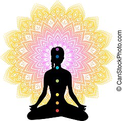Color chakras with woman - Vector illustration of Color...