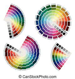 Color charts icons set