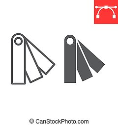 Color charts line and glyph icon, multicolor and color pallete, pantone colors sign vector graphics, editable stroke linear icon, eps 10