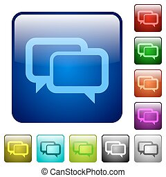 Color chat bubbles square buttons