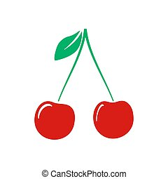 Color Cherry icon isolated on background. Modern flat pictogram, business, marketing, internet concept. Trendy Simple vector symbol for web site design or button to mobile app. Logo illustration.