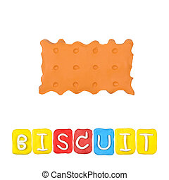 Color children's biscuit plasticine on a white background