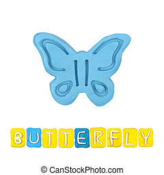 Color children's butterfly plasticine on a white background