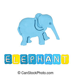 Color children's elephant plasticine on a white background