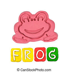 Color children's frog plasticine on a white background