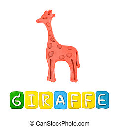 Color children's giraffe plasticine on a white background