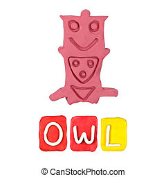 Color children's owl plasticine on a white background
