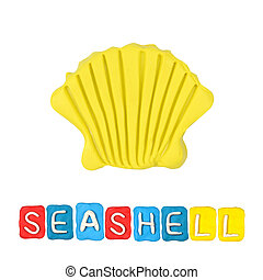 Color children's seashell plasticine on a white background