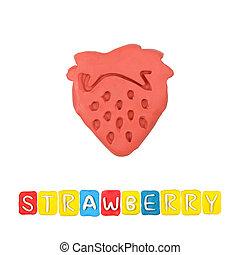 Color children's strawberry  plasticine on a white background