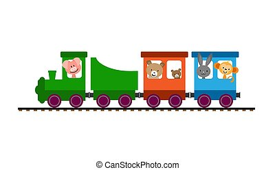 Color children's train with cars and locomotive carries animals
