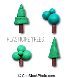 Color children's tree plasticine on a white background