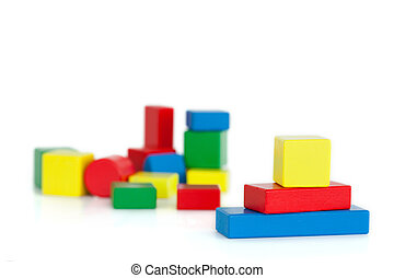 Color children's wooden blocks