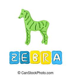 Color children's zebra plasticine on a white background