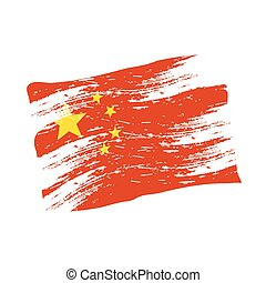 color china national flag grunge style eps10