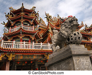 Color Chinese temple with lion stone