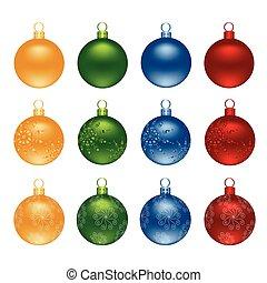 Color Christmas decoration ball vector set