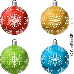 Color Christmas decoration ball vector set with snowflake shape pattern.