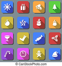 Color Christmas plain vector icons with shadow effect.
