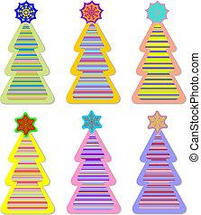 Color christmas tree and snow star