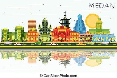 color, cielo, indonesia, edificios, contorno, medan, azul, ...