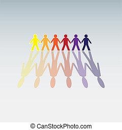 color, cifras humanas, consecutivo, -, ilustración