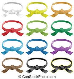 color, cinturones, vario, artes marciales