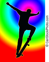 Color Circle Back Skateboarding Nosegrind - Color Circle...