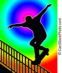 Color Circle Back Skateboarding Nosegrind Rail Slide - Color...
