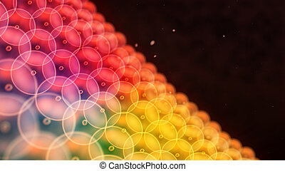 color circle cells arrange to wall close up