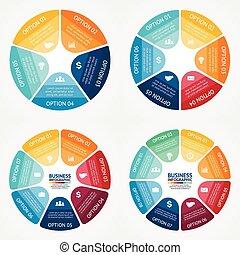 Color circle infographics diagrams set.