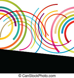 Color circle round ellipse lines waves colorful mosaic abstract illustration background vector