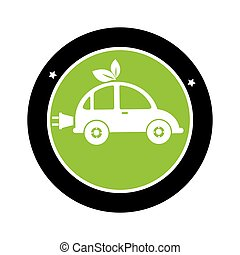 color circle silhouette with eco car