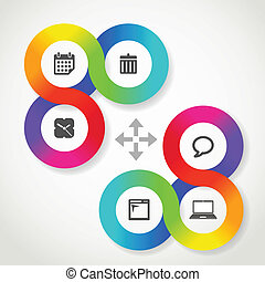 Color circle web interface template with icons