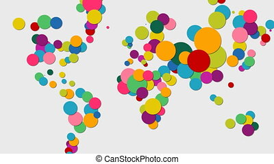 Color circle world map animation for global concept -...