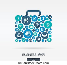 Color circles, flat icons in a case shape, business,...